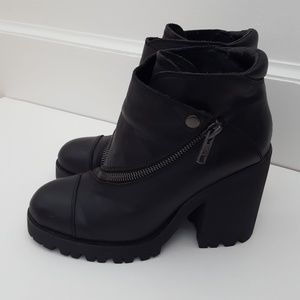 ASH leather platform moto ankle boots size 40/9